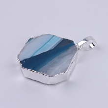 1PC Agates Piece Natural Stone Charms Pendants Green Slice Agat Crystal Quartz Pendant DIY Necklaces