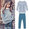 Autumn Toddler Girl Clothing Cotton Warm Long Sleeve T-shirt +Long Pants Clothing Set Kids Clothes Girls