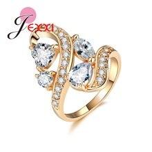 JEXXI Fliegen Konzept Design Gold Überzogene Ringe Für Frauen Vier CZ Dekoration Ring Schmuck Für Cocktail Party Kleid Ball