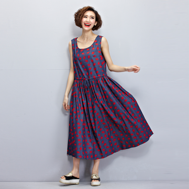2016 Denim Dress New Fashion Elephant Print Summer Dress Plus Size Loose Sleeveless Maxi Dress