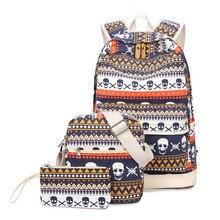 2017 г. женские рюкзак 3 шт./компл. Повседневная печать школьная сумка женская парусиновая рюкзаки для девочек-подростков дорожные сумки Mochila