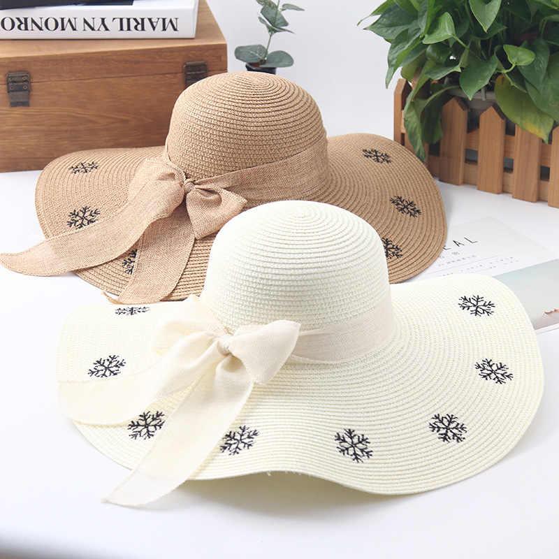 Playa femenino sombrero de verano visera bordado copo plegable sombrero  grande playa sombrero de paja 45ca0519324