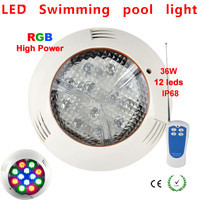 12V 36W RGB led swimming pool light IP68 12leds with RGB remote controller Outdoor Lighting Floodlight Warranty 2 years CE RoHS