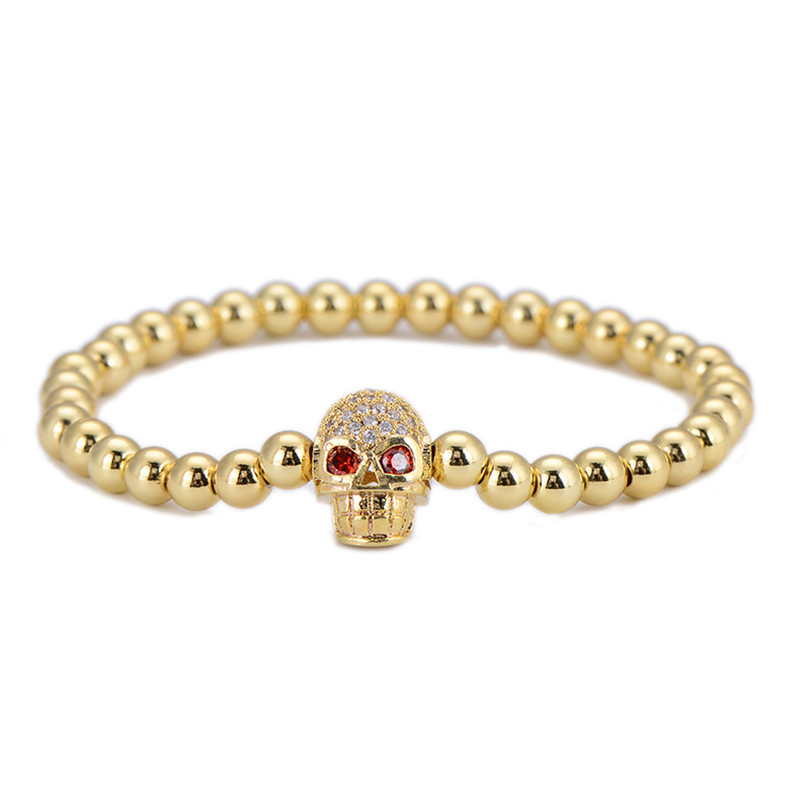 2pcs/lot Wholesale Gold Color Charm Skull Beads Bracelets Micro Pave CZ Punk Elastic Rope Strand Bracelet & Bangle Jewelry