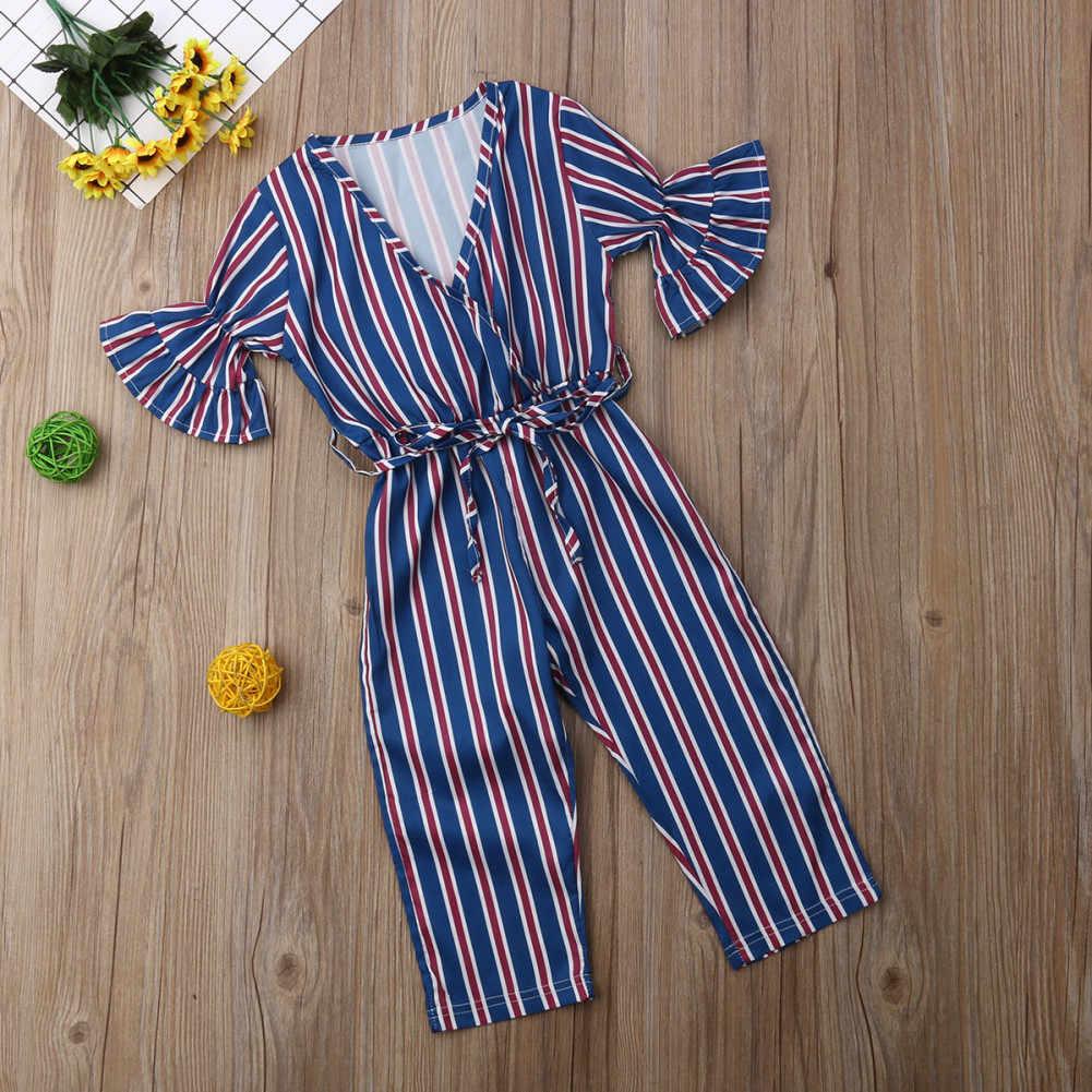 CHAMSGEND для маленьких девочек детские в полоску с принтом короткий рукав комбинезоны детские одежда MAR3 P35