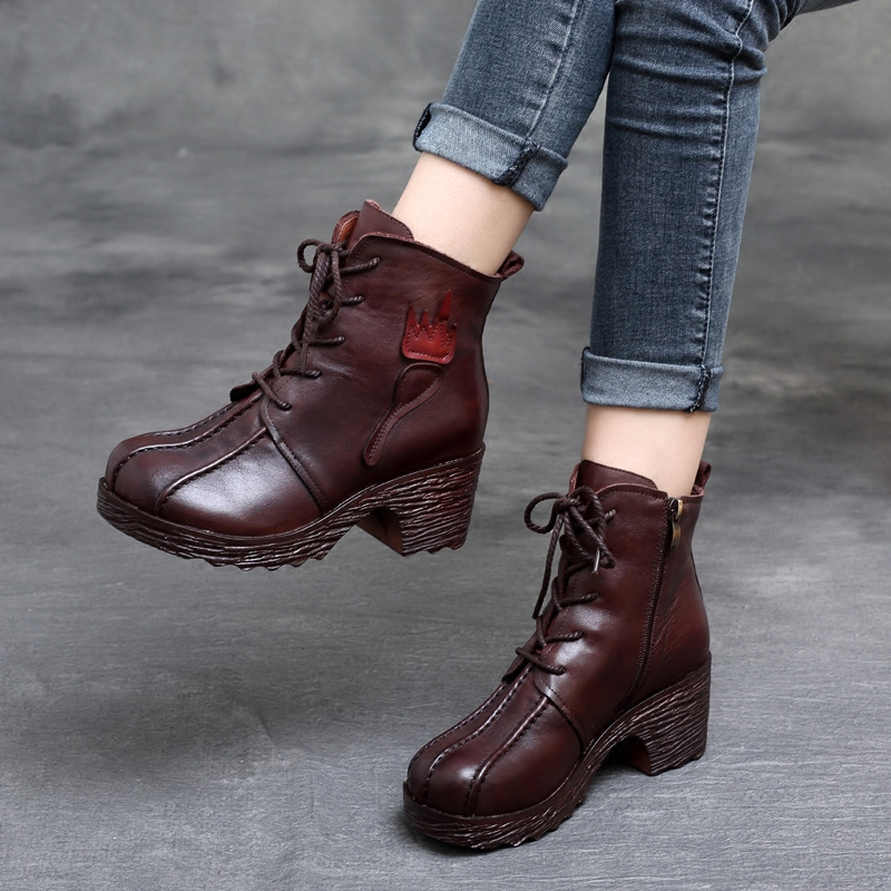 Genuine Leather Women Boots Lace Up 6 CM High Heels Ankle Boots Winter 2018 Brown Martin Boots For Women Leather Handmade Shoes цена