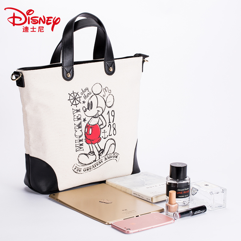 Genuine Disney 90th Anniversary Edition Classic PU Multi function Simple Canvas Women Bag Canvas Fashion Mummy