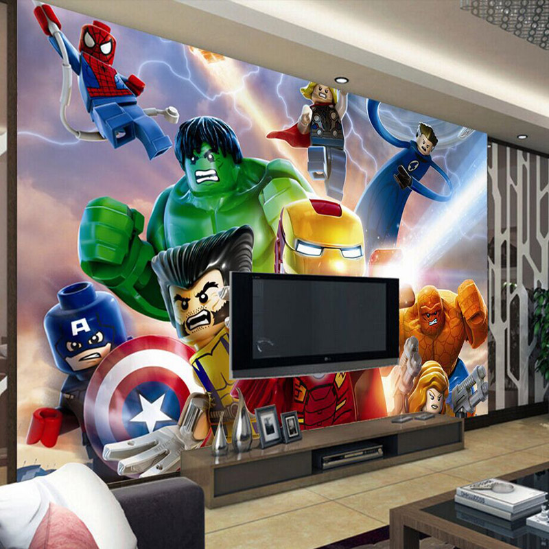 3d lego avengers wallpaper for walls mural cartoon for Decoration chambre lego