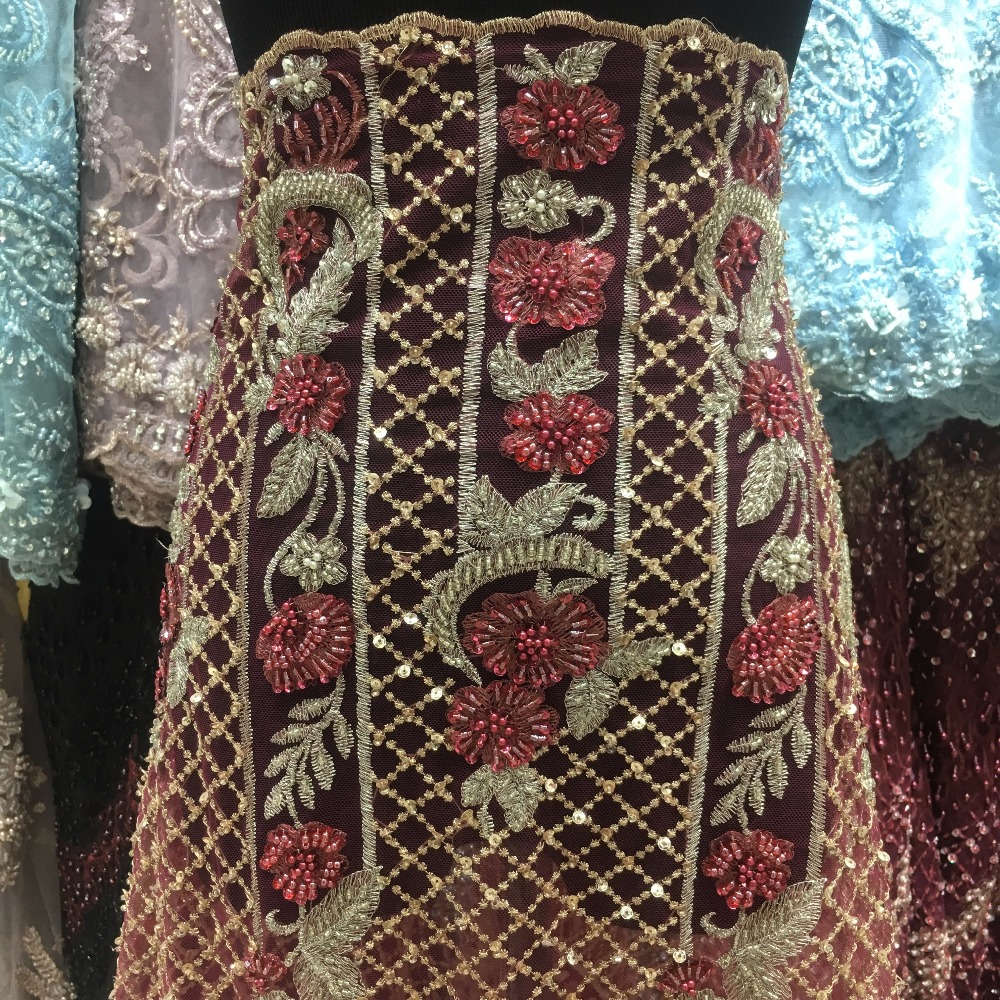 red royal indian style lace fabric sequins beads stones checks luxury material wholesale for dress free shipping