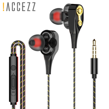 !ACCEZZ In Ear Earphones 3.5mm Audio Jack Earphone For Huawei Xiaomi LG Redmi IPhone Dual Drive Stereo Wired Microphone Headset