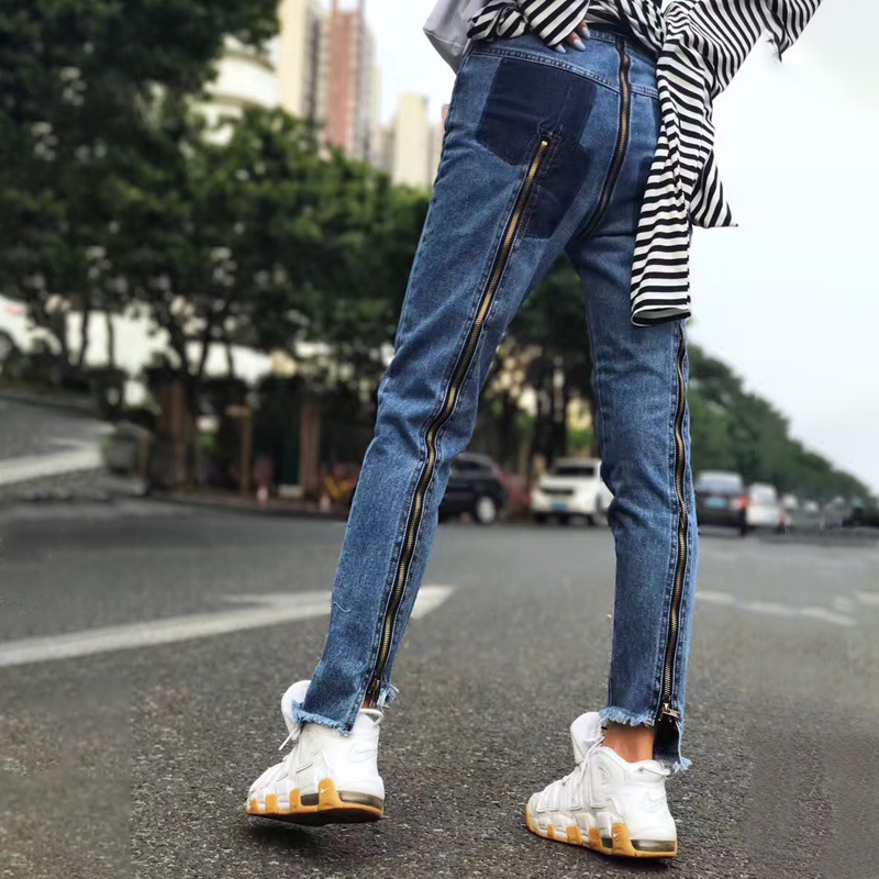 Pantalon crayon irrégulier femmes mode haute qualité taille haute fermetures à glissière décoration cheville longueur jeans bleu haute rue jeans femmes