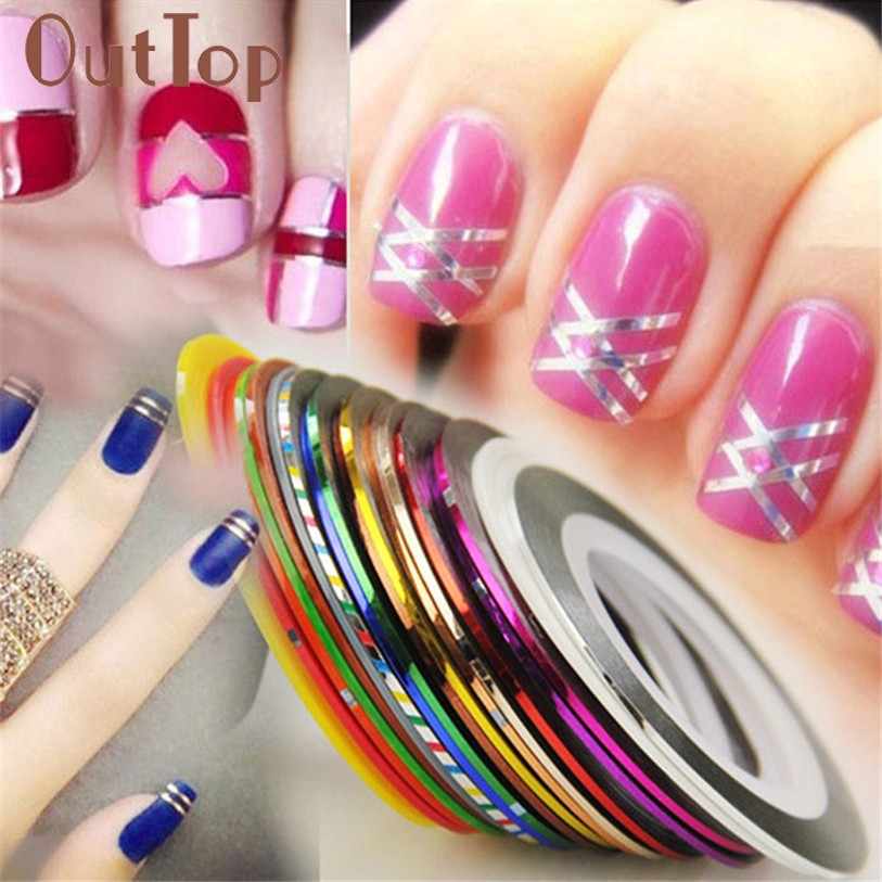 Striping Tape Line Nail Art: 30Pcs Mixed Colors Rolls Striping Tape Line Nail Art Tips