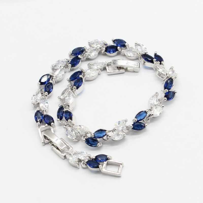 כסף צבע נשים חתונה מסיבת כחול לבן קריסטל עגילי צמיד טבעות שרשרת תליון 2018 חדש הגעה