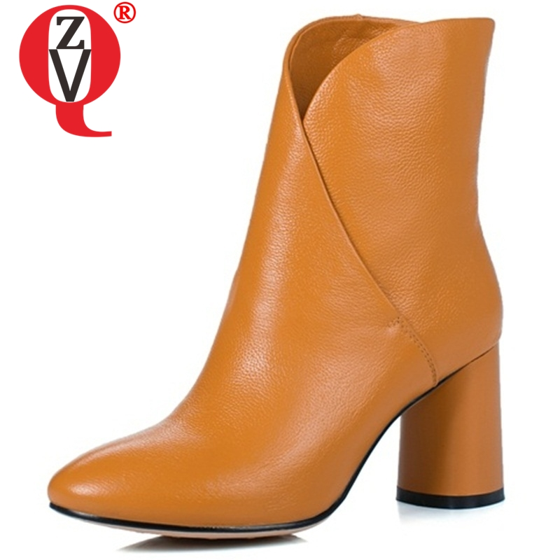 ZVQ fashion ankle boots round toe genuine leather shoes individuality elegant clipping women boots new black