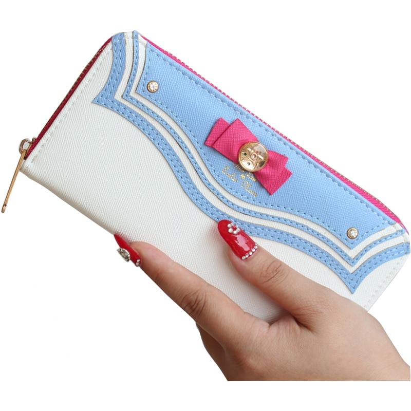 цены Female Purses Women Leather Wallet Long Female Bag Purse Ladies Fashion Zipper Phone Sailor Moon Wallet Brand Kawaii Bow Pocket