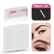 50pcs 5F Disposable Sterilized Tattoo Permanent Makeup Pen Machine Flat Needles Tips for Eyebrow lip Microblading supplies