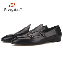 Piergitar brand 2019 Handmade spikes genuine leather men loafers Fashion party and wedding Men dress shoes smoking slippers