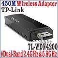 TP-LINK TL-WDN4200 450 300mbps 450 M Sem Fio Wi-fi USB Adapter Dual Band 2.4 GHz + 5 Ghz 802.1a/b/g/n TL WDN4200, SEM CAIXA do PACOTE da COR