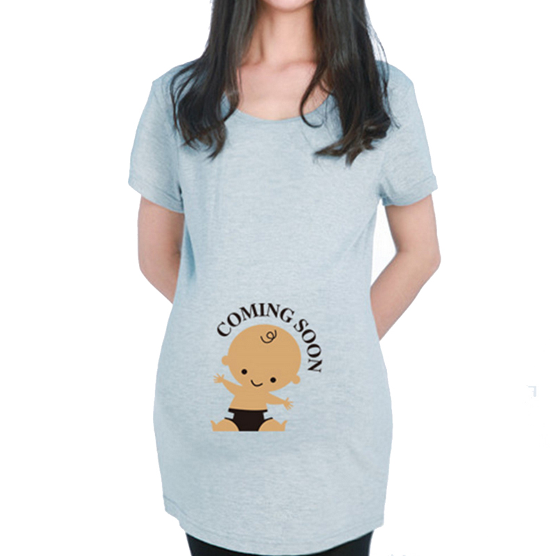 2016 Summer Maternity Funny Baby Peeking Out  Shirts Mom To Be Wear Clothing Pregnancy T Shirt Pregnant Women Tops Tees Clothes