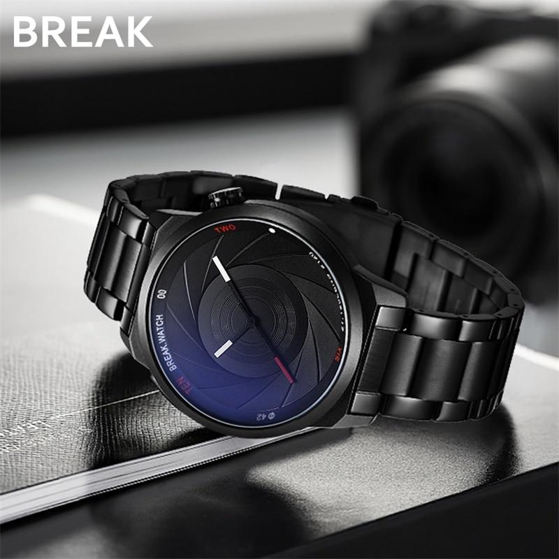 BREAK photographe série bracelet en acier inoxydable Unique créatif appareil photo Style hommes femmes décontracté Quartz Sport analogique robe montre-bracelet