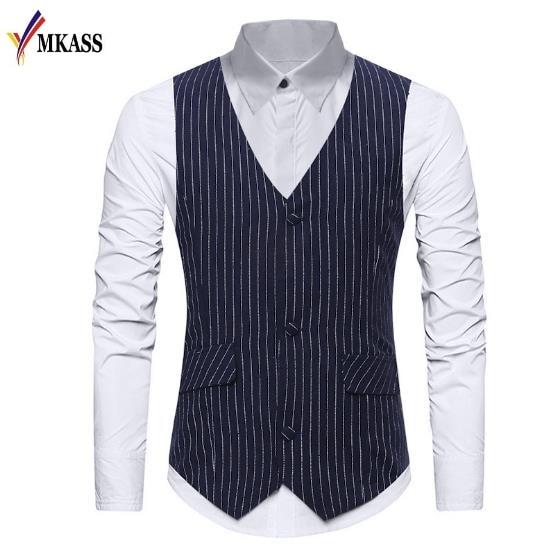 2018 Gestreepte Mens Vest Gilet Homme Classic V-hals Enkele Breasted Mannen Jurk Pak Vest Casual Business Wedding Heren Vesten