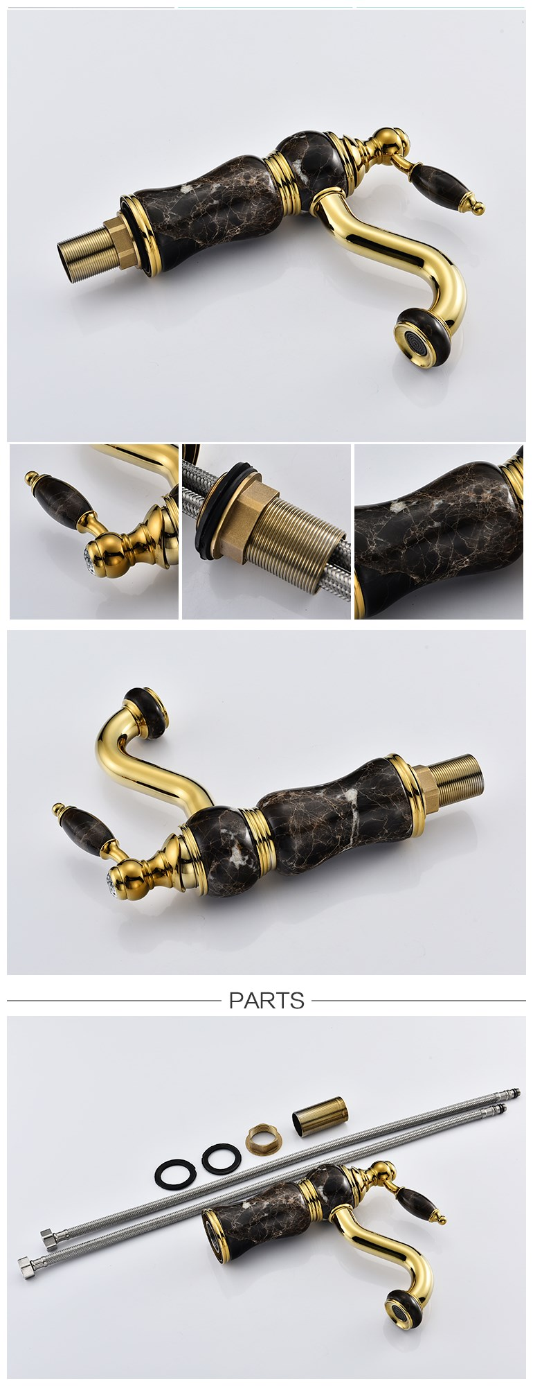 Black Jade Gold-plated Single handle Basin Faucet with Hot and Cold