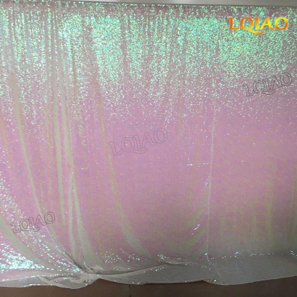 10FT * 10FT changement de couleur blanc miroitant Sequin tissu toile de fond photographie décors mariage Photo stand Sequin rideau fête décor