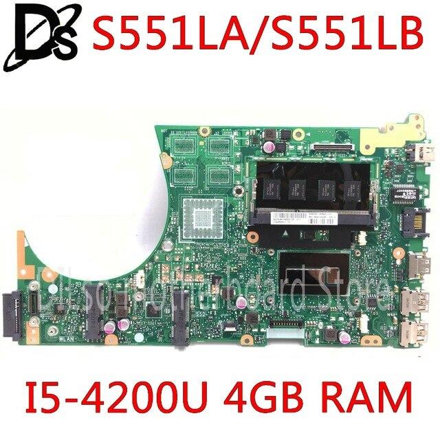 MOTHERBOARD Para ASUS S551LA S551LA S551LB S551LN S551L R553L S551 mainboard 4 GB RAM I5-4200U original mothebroard 100% teste
