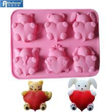 6 животных 3D кошка Медведь собака кролик слон лягушка с сердцем силиконовые формы для выпечки торта Мыло Формы Кекс шоколадной формы