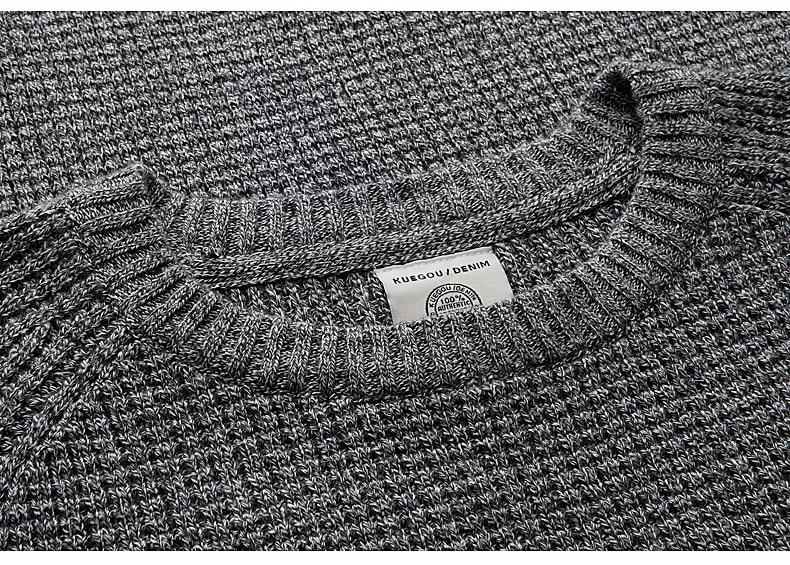 KUEGOU Herbst Herren Pullover 100% Baumwolle Grau Farbe Gestrickt - Herrenbekleidung - Foto 4