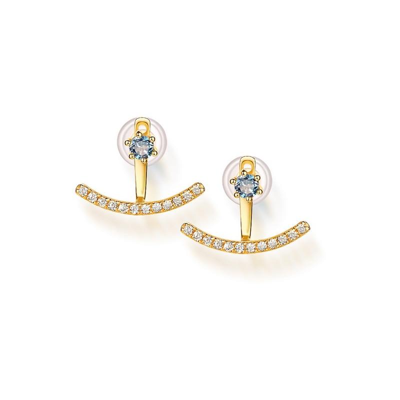 JXXGS Blue Topaz 14K Gold Cubic Zircon Earrings European And American Retro Style Earrings For Women