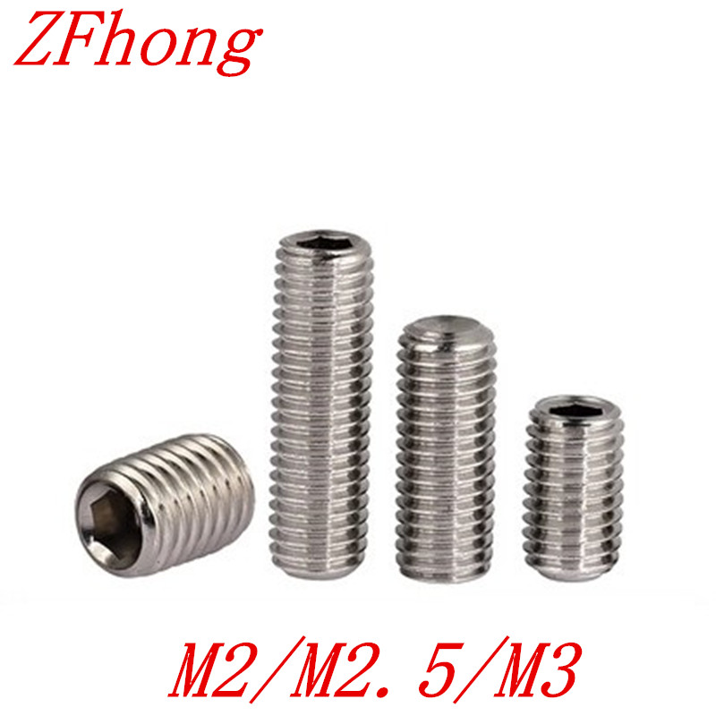 200PCS M2 M2.5 M3 DIN916 Stainless Steel Allen Head Hex Socket Set Screw Grub Screw with cup point m4 m4 10 m4x10 m4 16 m4x16 316 stainless steel 316ss din916 inner hex hexagon socket allen head grub cup point set screw