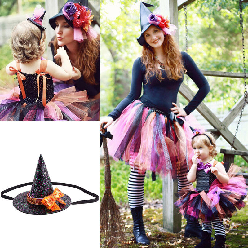 Black Witch Hat With Orange Band For Fancy Dress Halloween Accessory