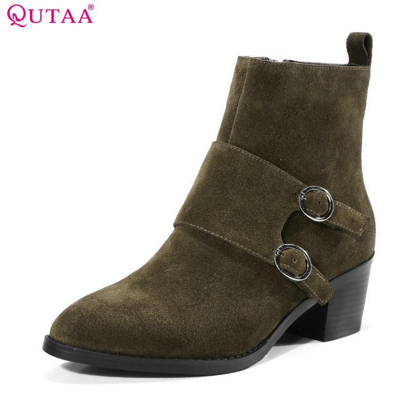 QUTAA 2018 Cow Leather + Suede Women Ankle Boots Pointed Toe Zipper Buckle Square High Heel Fashion Women Boots Size 34-39 esveva 2018 women boots cow leather suede out door buckle square high heels ankle boots pointed toe warm fur boots size 34 39