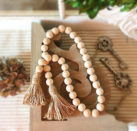 Wood Bead Garland With Tassels Natural Wood Garland Living Room Decorative Garland Holiday Wedding Garland Home Decor Rattle