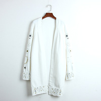 Runway Women 2019 Spring Sweater Star Moon Embroidery Coats Cardigan Knitted Long Loose High Street Cardigans Jumper Outwear