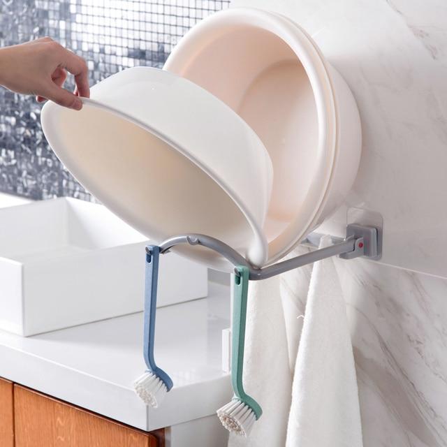 Elegant Foldable Bathroom Storage Holder Support Rack Wall Mounted Storage Organizer  For Basins Brushes Kitchen Rack
