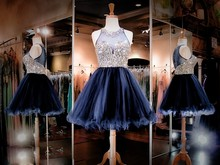 Sexy Navy Blue Homecoming Dresses 2015 Sheer Halter Neckline Beaded Sequins Short Prom Dresses Tulle Ruffles Backless Party Gown