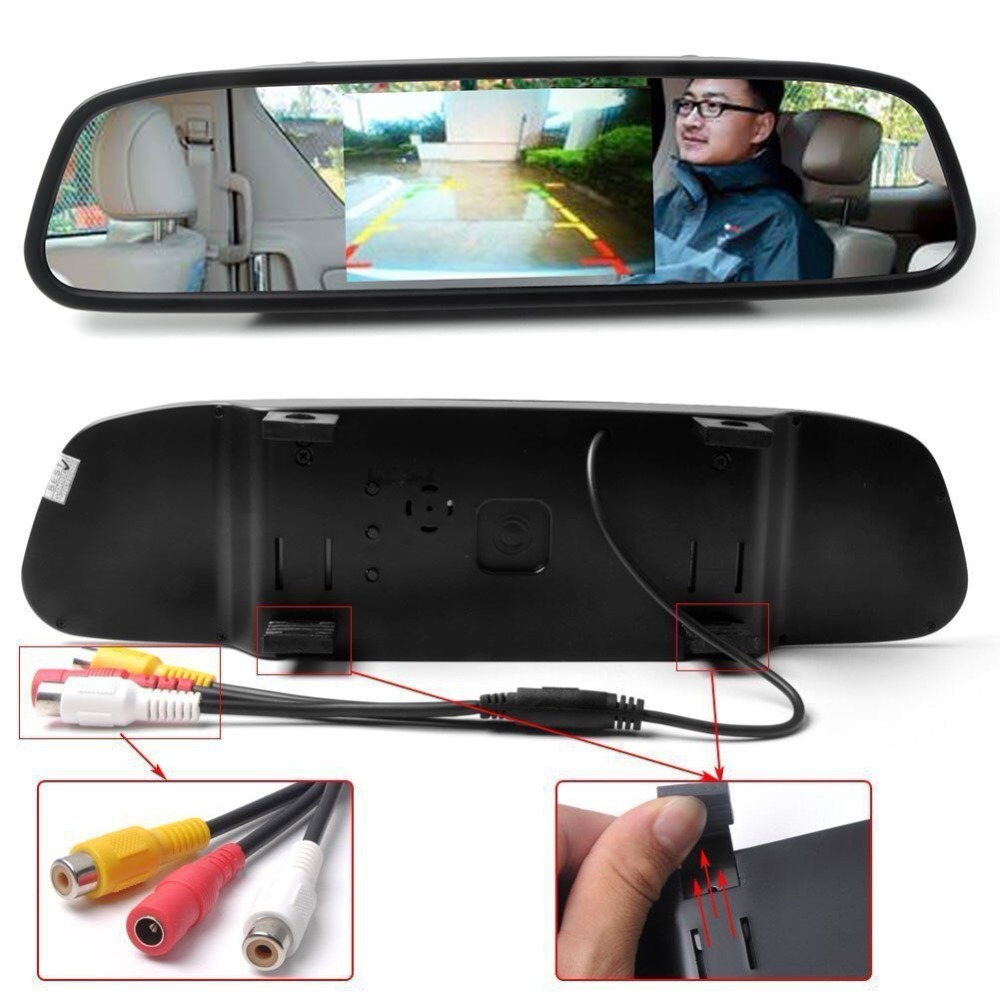 Image 4 - Viecar Car Rearview Mirror Monitor With Night Vision Reversing Rear View Camera 4.3 inch Screen display Mirror Monitor-in Car Mirror Video from Automobiles & Motorcycles