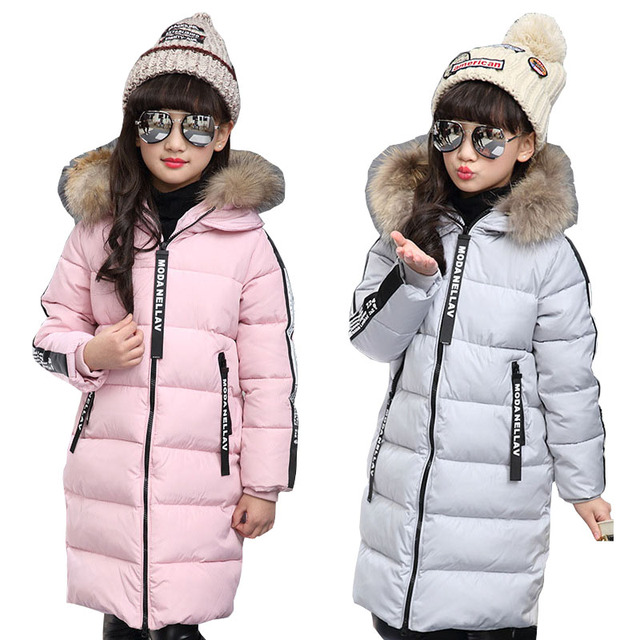 new products 048d9 70fae US $42.99 |Kinder Lange Parkas Für Mädchen Fell Kapuze Mantel Winter Warme  Daunen Jacke Kinder Oberbekleidung Kleinkinder Dicken Mantel 4 6 9 10 12 in  ...