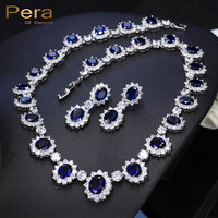 High Quality Big Round Cubic Zirconia Luxury Bridal Wedding Royal Blue Stone Necklace And Earrings Jewelry