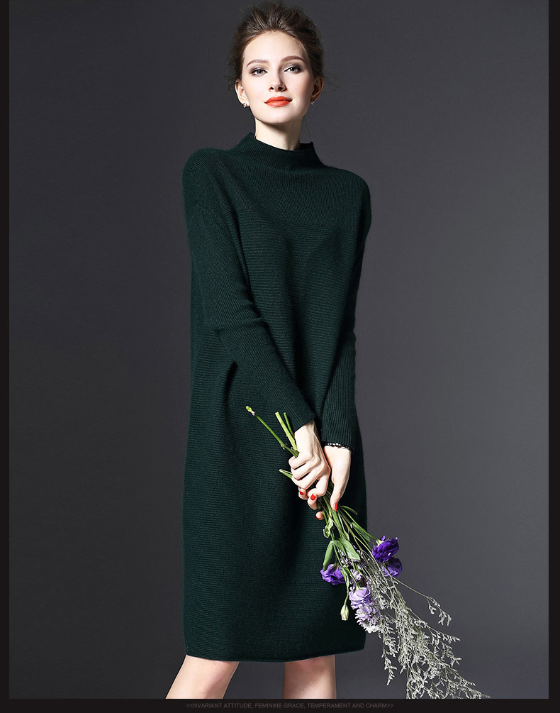2019 Autumn and Winter Ladies New Simple Wild Long-sleeved Loose Bottoming Dress Was Thin Solid Color Knit Large Size Dress 3