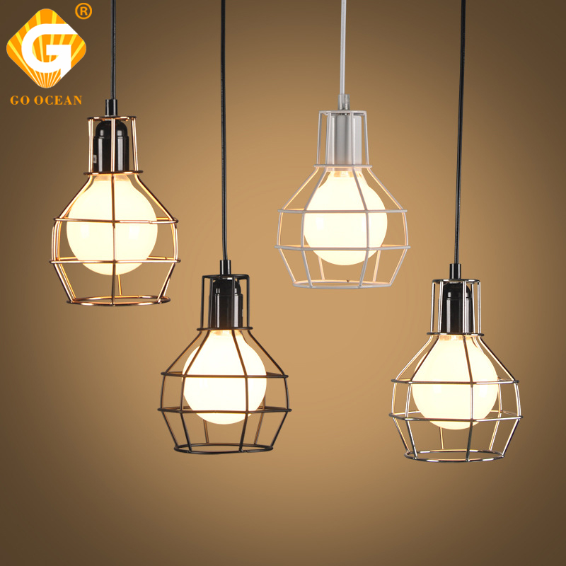 Pendant Lights Bedroom Lamp White Black Small Cage Light Fixtures Pendant Lamps Modern Hanging Home Lighting For Living Room children toy modern 3heads brief child lamps living room lights bedroom lamp cartoon pendant light lighting 80006 161 z10