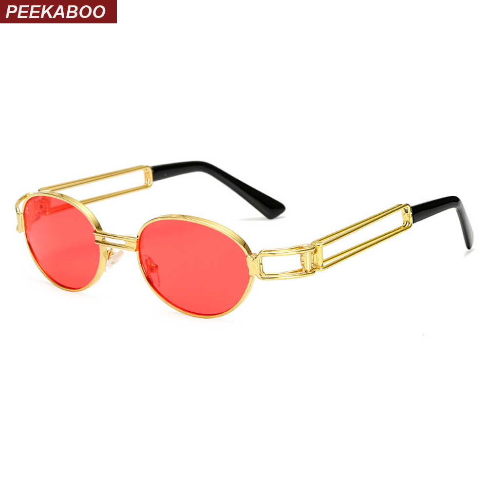 Peekaboo 2017 retro vintage sunglasses men small round gold metal red oval small sun glasses for men vintage women uv400