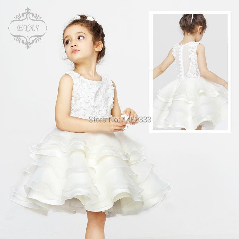 2017 Eyas Children's Clothing Summer Girl Wedding White Layered Dress Flower Girl Evening Dress D4202 random florals ruffle layered split dress