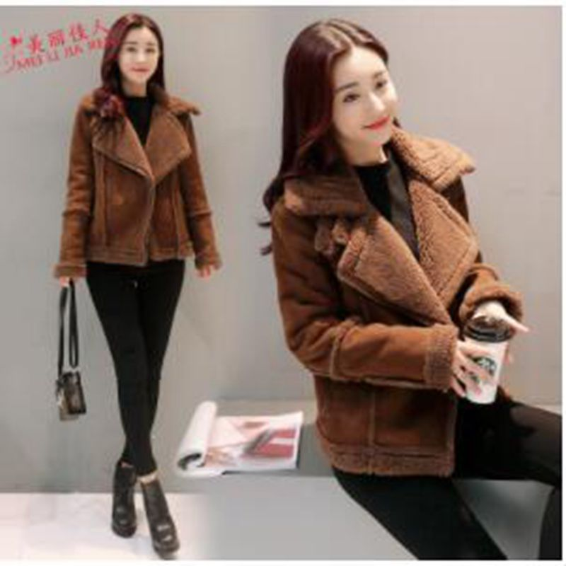 new Winter Jacket Women   Suede   Lamb Woolen Coat Biker Jacket Lapel Short Coats Female Fur Coat Thicker Outerwear Warm Coat woman