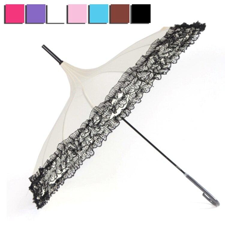 Принцессы Кружево зонтик дождь Для женщин Мода 16 ребра пагода зонтик с длинным-ручка зонтика ветрозащитный солнечный и дождливый зонтик