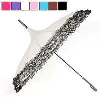 Umbrella Rain Women Fashion 16 Ribs Lace Pagoda Parasol Princess Long Handle Umbrella Windproof Sunny And