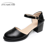 2017 Vrouwen Lederen Vrouwelijke Hand maat 9 zwart gesp pomp sandalen Britse Instituut van stijl oxford schoenen voor vrouwen