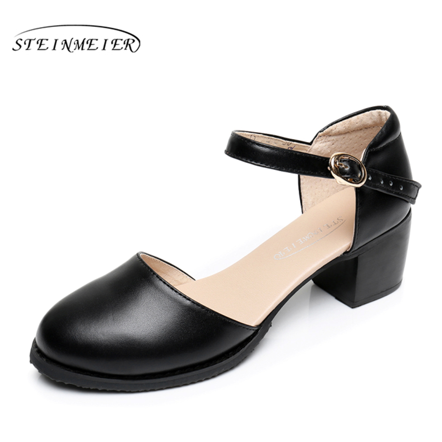 2017 Women Leather Female Hand size 9 black buckle strap pump sandals British Institute of style oxford shoes for women new york institute of photography
